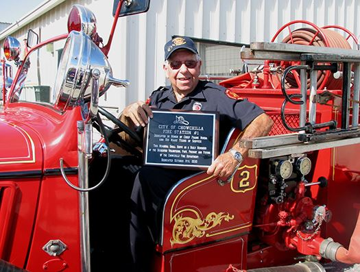 Frank Borba at the Dedication of Fire Station Number 1 in His Honor